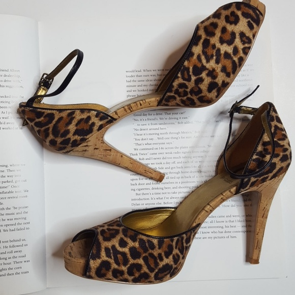 4fb67a65062 G by Guess Shoes - G by Guess Leopard Print Ankle Strap Peep Toe Heel